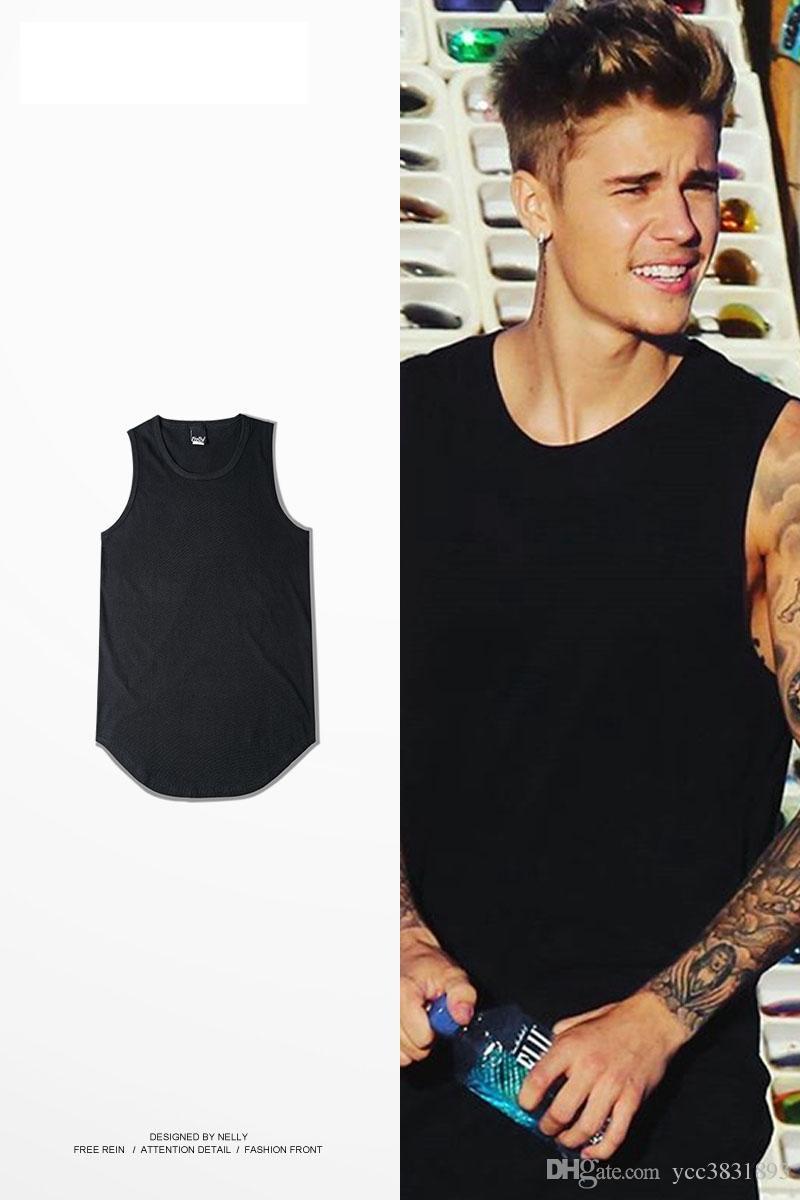 9aacc62b5e54f Fashion Summer Men Justin Bieber Tank Tops Plain Sleeveless Man Tee Basic  Underwear Curved Hem Hi Street Hombre Singlet Long Sleeve Shirt T Shirts  Design ...