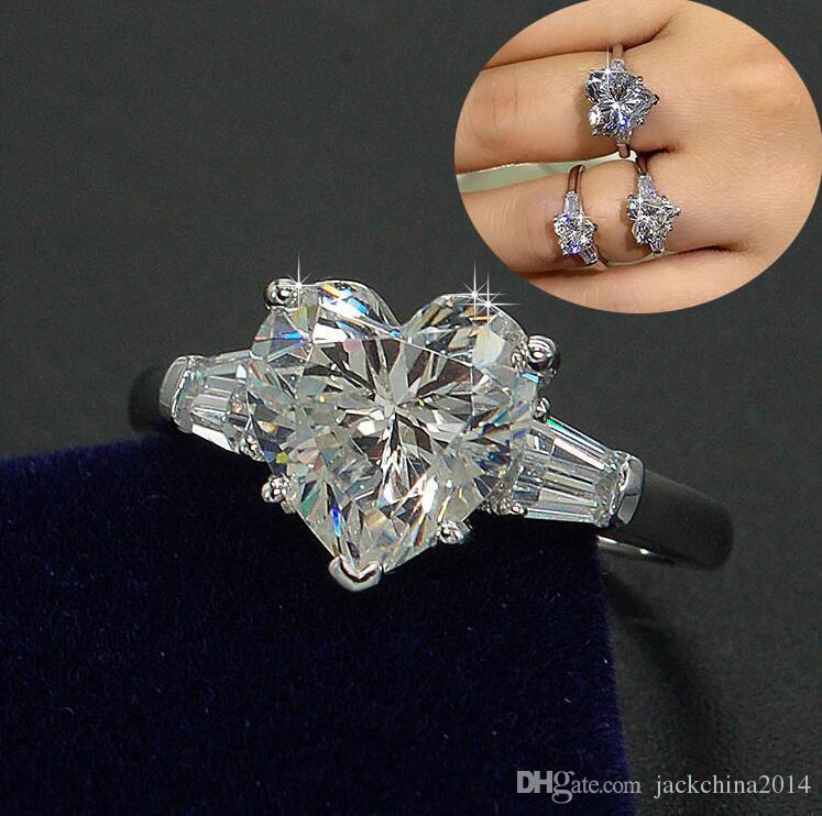 Victoria Wick Classic Moda Kobiety Biżuteria 925 Sterling Silver Oszałamiająca Śliczna Gruszka Cut White Topaz CZ Diamond Ślub Dziewczyna Pierścień Pudełko Pudełko