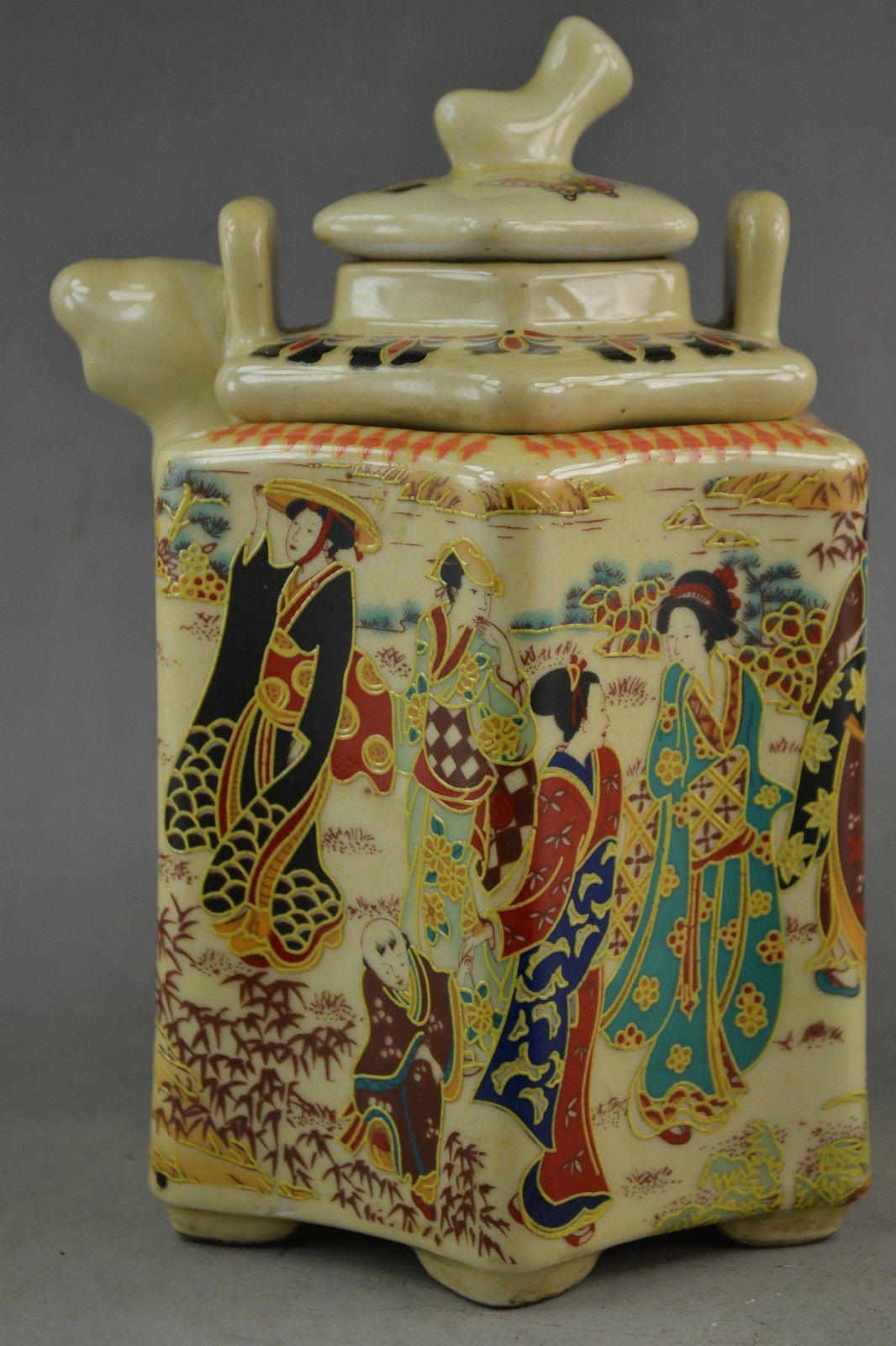 6 .75 pulgadas Old Collectible Porcelain Draw Landscape Dowager 2 Capa de tetera