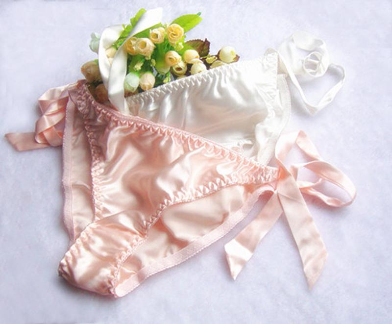 Mulberry silk women's silk panties female lacing pure silk triangle panties solid color fancy Pink White M L XL XXL