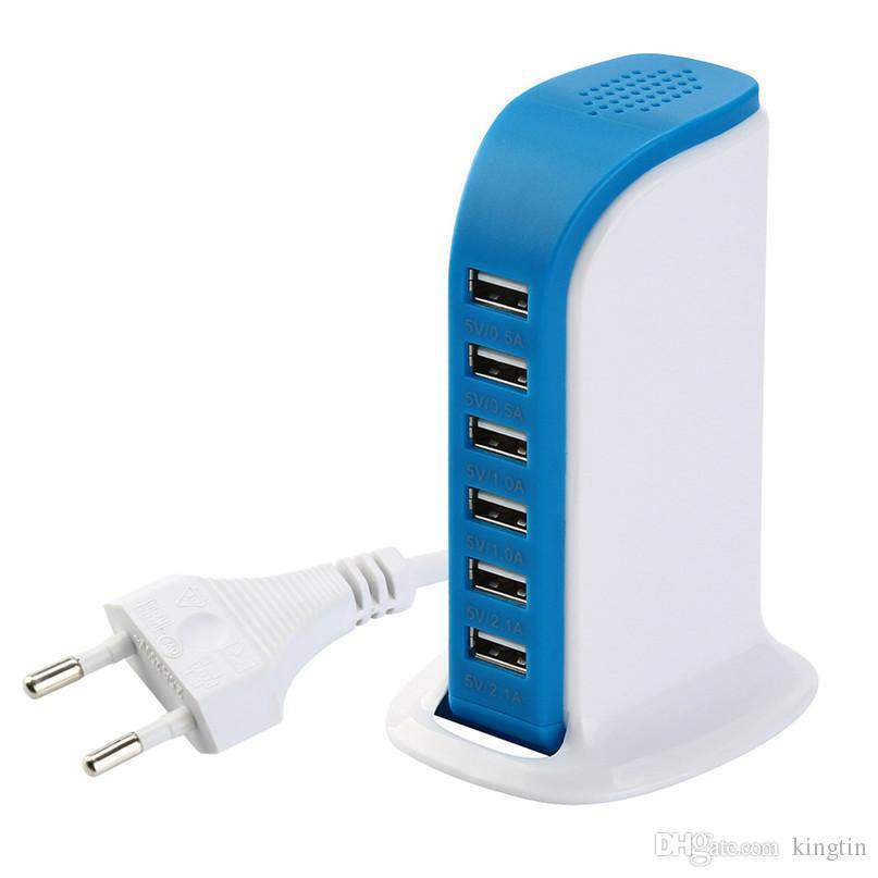 50 adetgrup bize / eu USB Şarj Istasyonu Hub 30 W 5 Port USB Duvar Şarj Güç Adaptörü Samsung Için Taşınabilir Seyahat Şarj Fişi