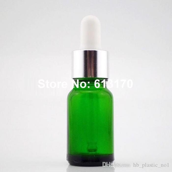 New arrival 10ml Green Glass Bottles Empty Dropper bottle,10cc Essential Oil bottle Small sample Vials white rubber