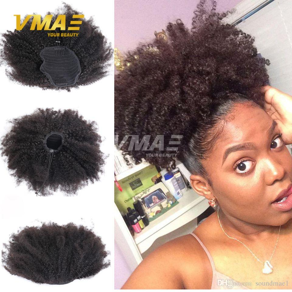 afro kinky curly brazilian human ponytail hair natural 4b 4c afro