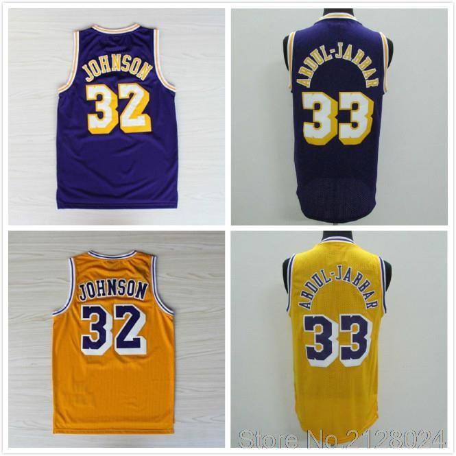35359601768 ... official store discount 32 earvin magic johnson 33 kareem abdul jabbar  basketball jersey stitched throwback jerseys