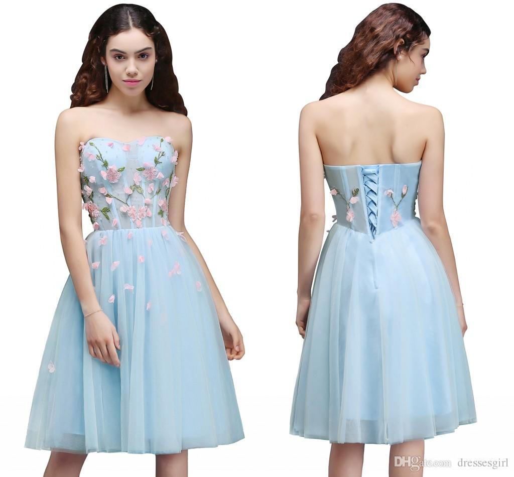 Charming knee length sweetheart bridesmaid wedding party dress charming knee length sweetheart bridesmaid wedding party dress short prom dress light sky blue tulle 3d floral homecoming dress cps659 yellow junior ombrellifo Images