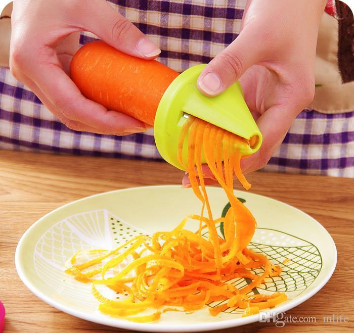 Ferramentas de cozinha Acessórios Graters Gadget Funil Modelo Espiral Slicer Vegetal Shred Dispositivo Cozinhar Salada Cenoura Rabanete Cortador