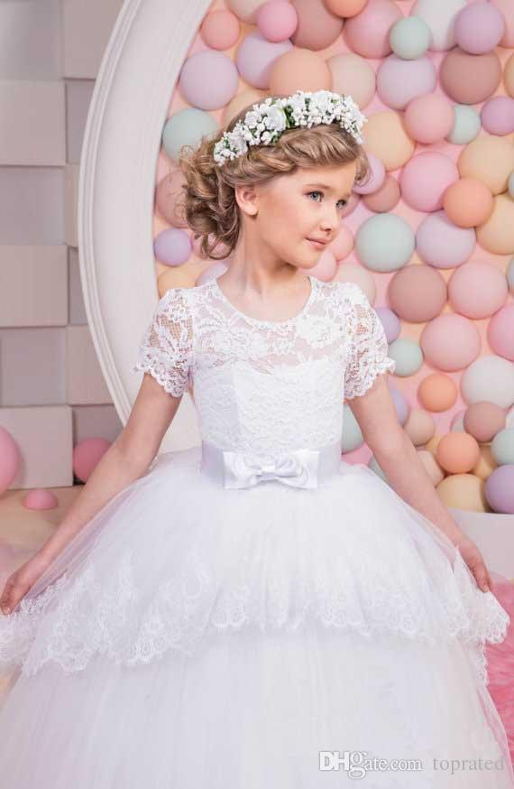 Princess Scoop Short Sleeve Lace Little Wedding Flower Girl Dresses 2017 Corset Tulle Ball Gown Long Kids Puffy Birthday Communion Dresses