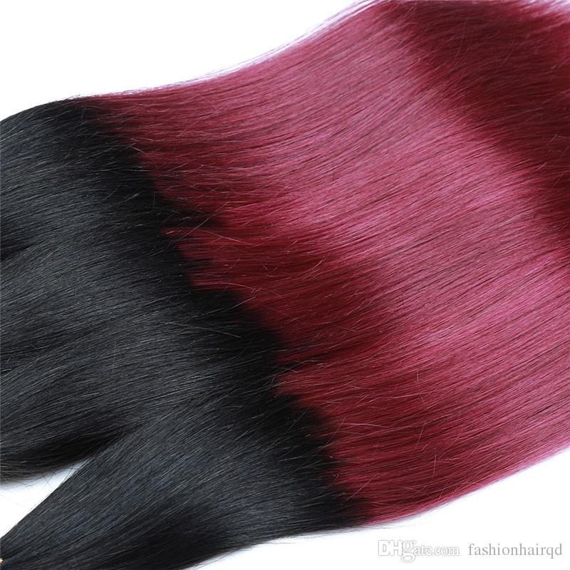 T1b 99j Ombre Menschliches Haar Bundles 8A Grade Peruanische Gerade Reines Haar Spinnt Zwei Ton Dunklen Wurzel Burgundy 3 stücke Los