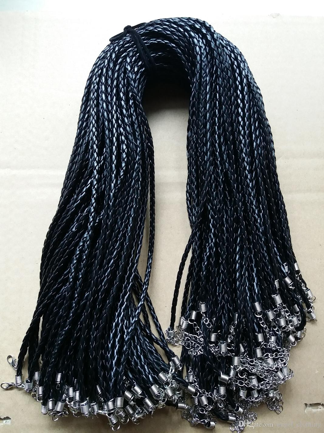 18 '' 3 mm negro PU cuero trenzado cuerda trenza collar de cuerdas con corchete de la langosta para DIY joyería Neckalce colgante artesanía joyería