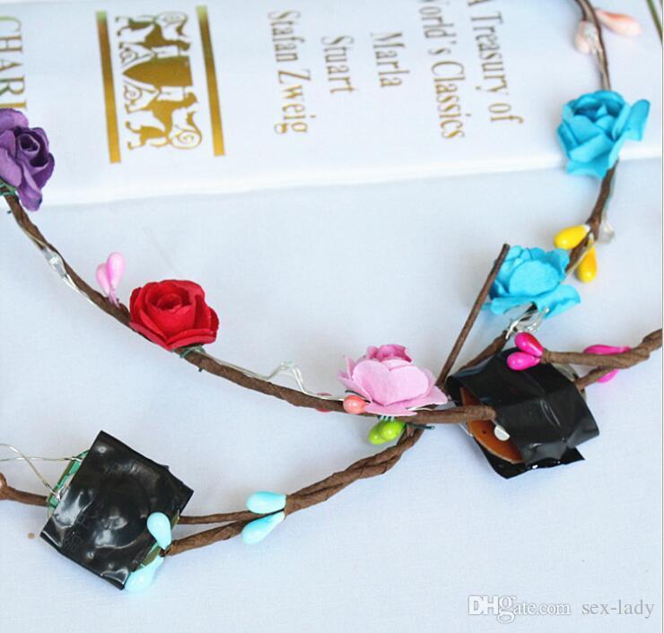 2017 Flashing LED Glow Flower Crown Headbands Light Party Rave Floral Hair Garland Wreath Wedding Flower Girl Headpiece decor
