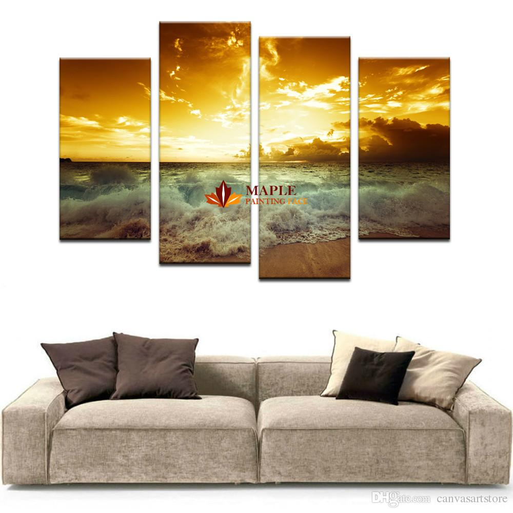 4 pieces large canvas wall art home decor painting landscape canvas prints  sea wave picture for home living room decoration