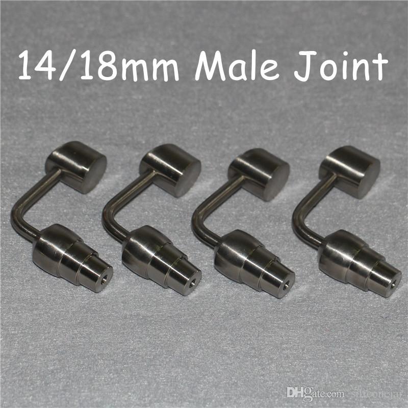 Kubbesiz Titanyum Nail Ti Tırnak 14mm 18mm Erkek Grade 2 GR2 Titanyum Nail uyan 14mm 18mm Wax Dab Konteynerleri