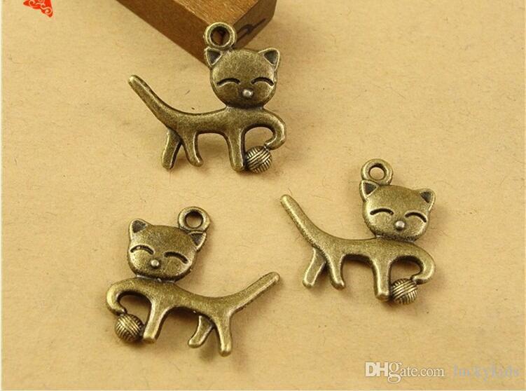 18*19MM Antique Bronze Retro naughty kitten cat charm beads mobile phone accessories DIY, animal shaped jewelry, animal pendant