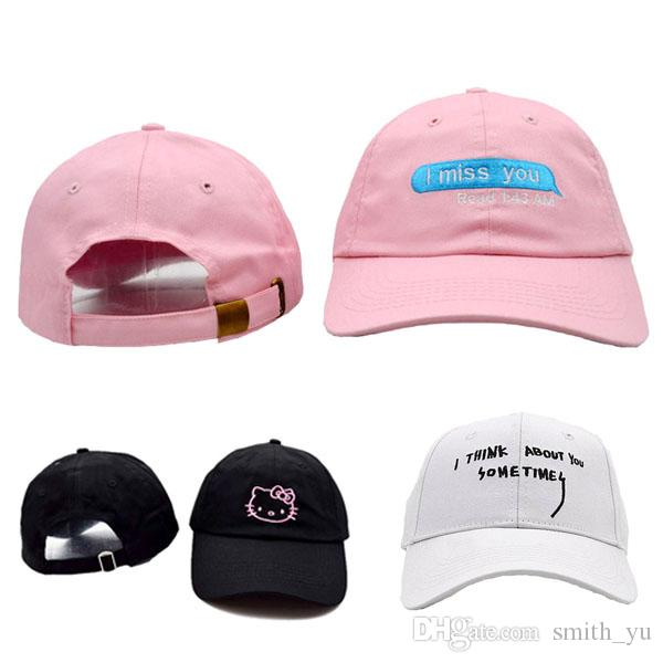 88302370 Fashion Hello Kitty I miss you Strapback Caps Think about Sometimes Hats  Men Women Sport Snap back Summer Snapback Cap Adjustable Hat