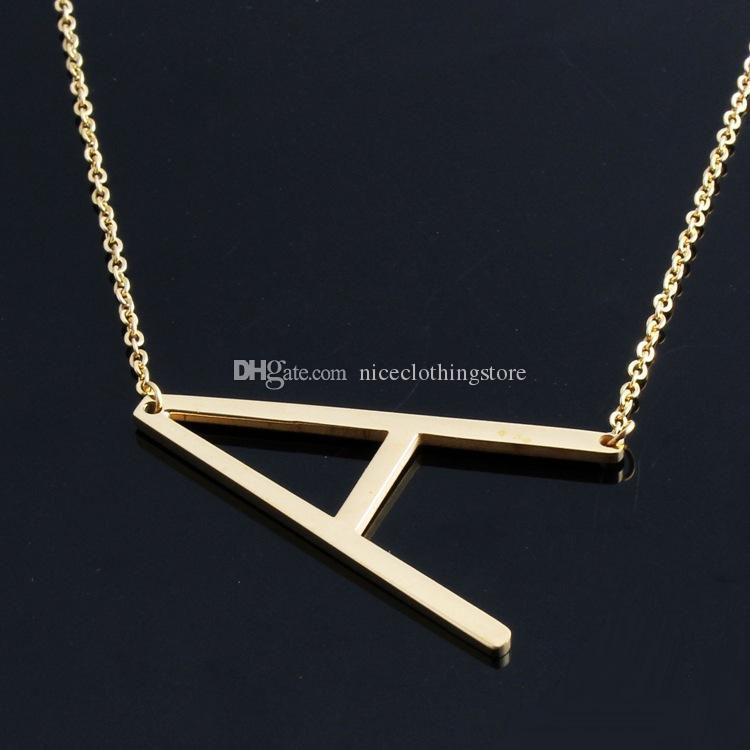028525acfe2 Wholesale Fashion Letter Necklaces Pendants Alfabet Initial Necklace Gold  Color Stainless Steel Choker Necklace Women Jewelry Kolye Collier Name  Pendant ...
