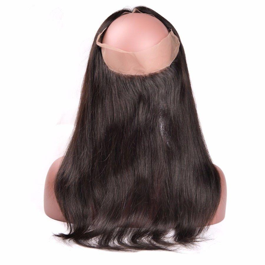 Preucked 360 кружева лобное закрытие с пучками 4шт 200г Малайзийские девственные волосы с 360 кружева фронтальные малазийские прямые волосы