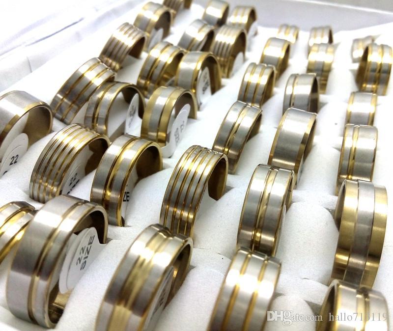 Wholesale lotes mix de ouro homens de aço inoxidável anéis de banda moda jewerly bom para revenda