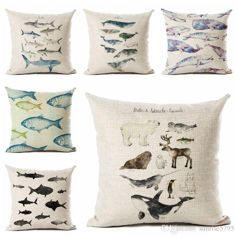 Sea Fish Cushion Cover Marine Sofa Throw Pillow Case Ocean Whale Almofada  Linen Cojines Home Decor 8 Designs Nautical Decoration Outdoor Furniture  Cushion ...