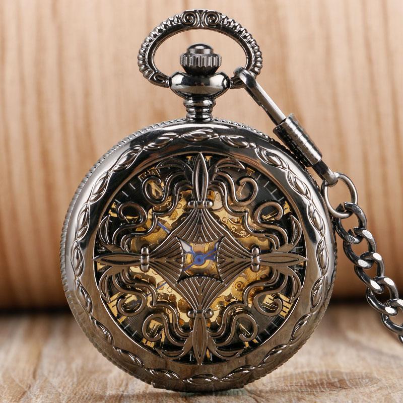 e79d77e59eb73 Wholesale Luxury Retro Roman Numerals Grilles Automatic Mechanical Women  Black Gold Pocket Watch Chain Self Winding Transparent Skeleton Mechanical  Pocket ...