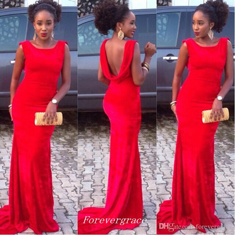 Nuovo arrivo Red Cowl Back Prom Dress Sexy sirena lunga Backless Women Wear Party Gown Custom Made Plus Size
