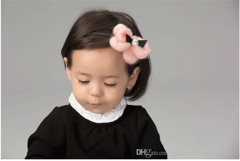 Fashion Girls Headband Hairpins Handmade White Pearl Fur Bow Bowknot Barrettes Kids Elastic Headwear Hair Accessories Wholesale
