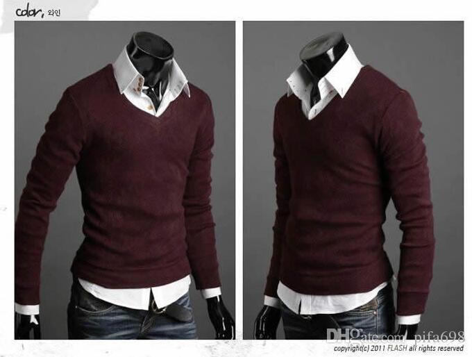 New Mushroom Men sweater buckle design men's long-sleeved sweater