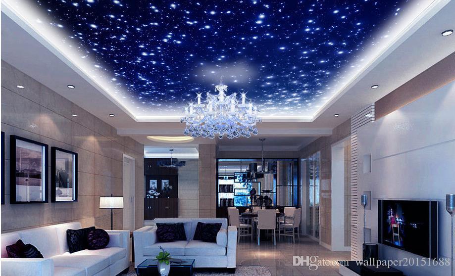 Hermoso universo de la fantasía cielo cenit techo techo decoración murales 3d techo murales de papel tapiz