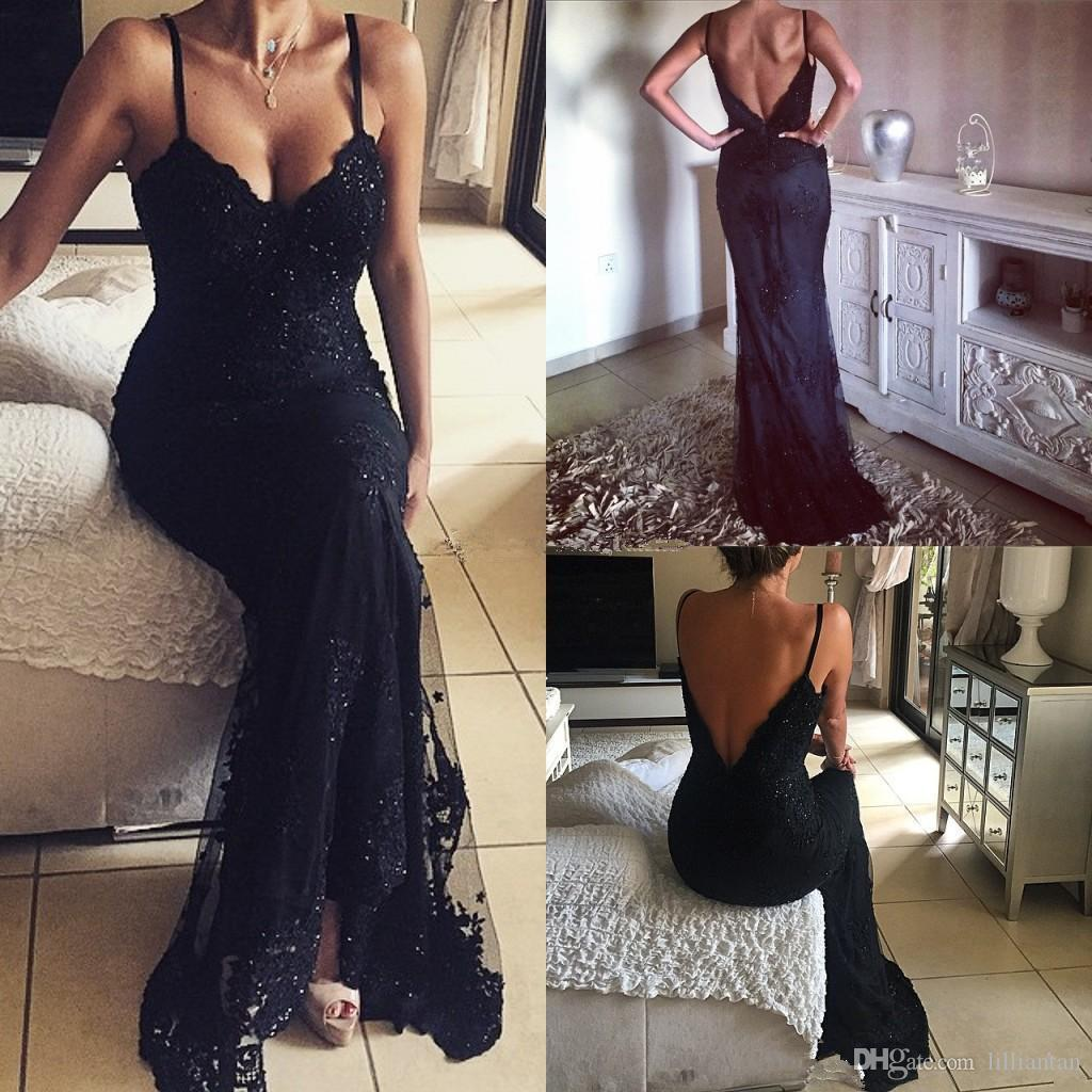 Sexy Backless Black Lace Long Party Prom Dresses Open Back Spaghetti Mermaid Evening Party Gowns Sequined Fitted Occasion Dress Club Wear