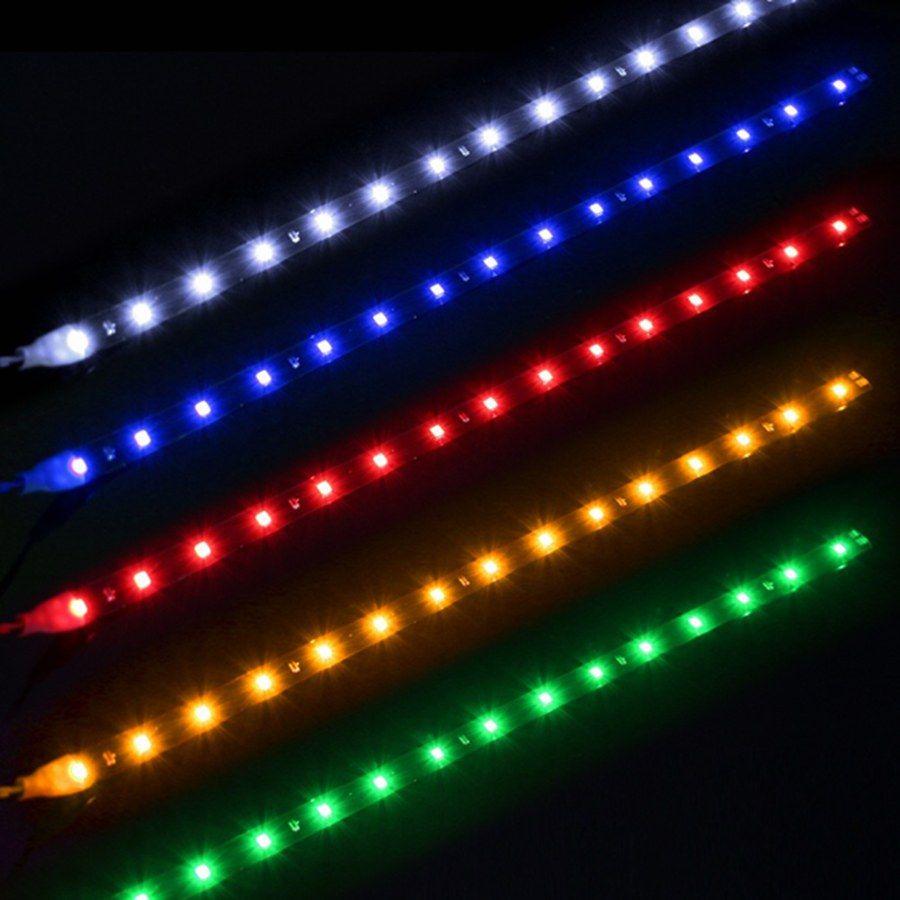 Водонепроницаемый автомобиль Автоматическая декоративная гибкая светодиодная полоса высокой мощности 12 В 30см 15smd автомобиль светодиодный дневной запуск легкий автомобиль светодиодная полоса света DRL