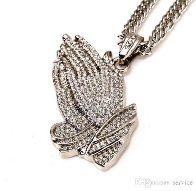 Gold Silver Praying Hands Hiphop Bling Necklace Mens 18k Gold Religous Jewlry Iced Out Prayer Jesus Women Men Gift Plating