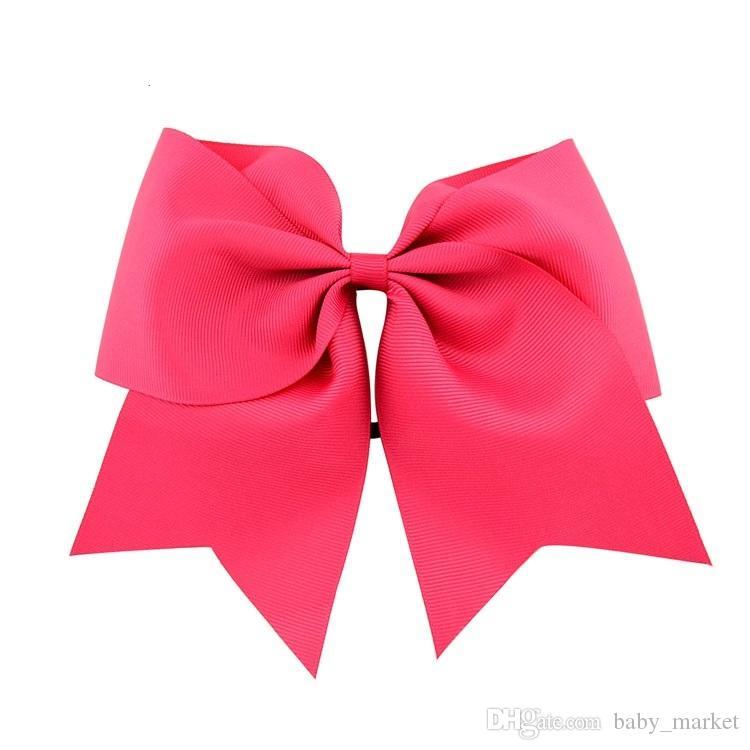 10 stks196 Kleuren 8 inch meisjes cheerleading haar boog grosgrain lint jeuk boog elastische band paardenstaart haarhouder voor meisje haarbanden