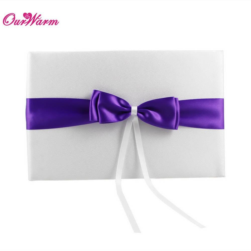 25cm x 16cm purple wedding guest book set with satin ribbon