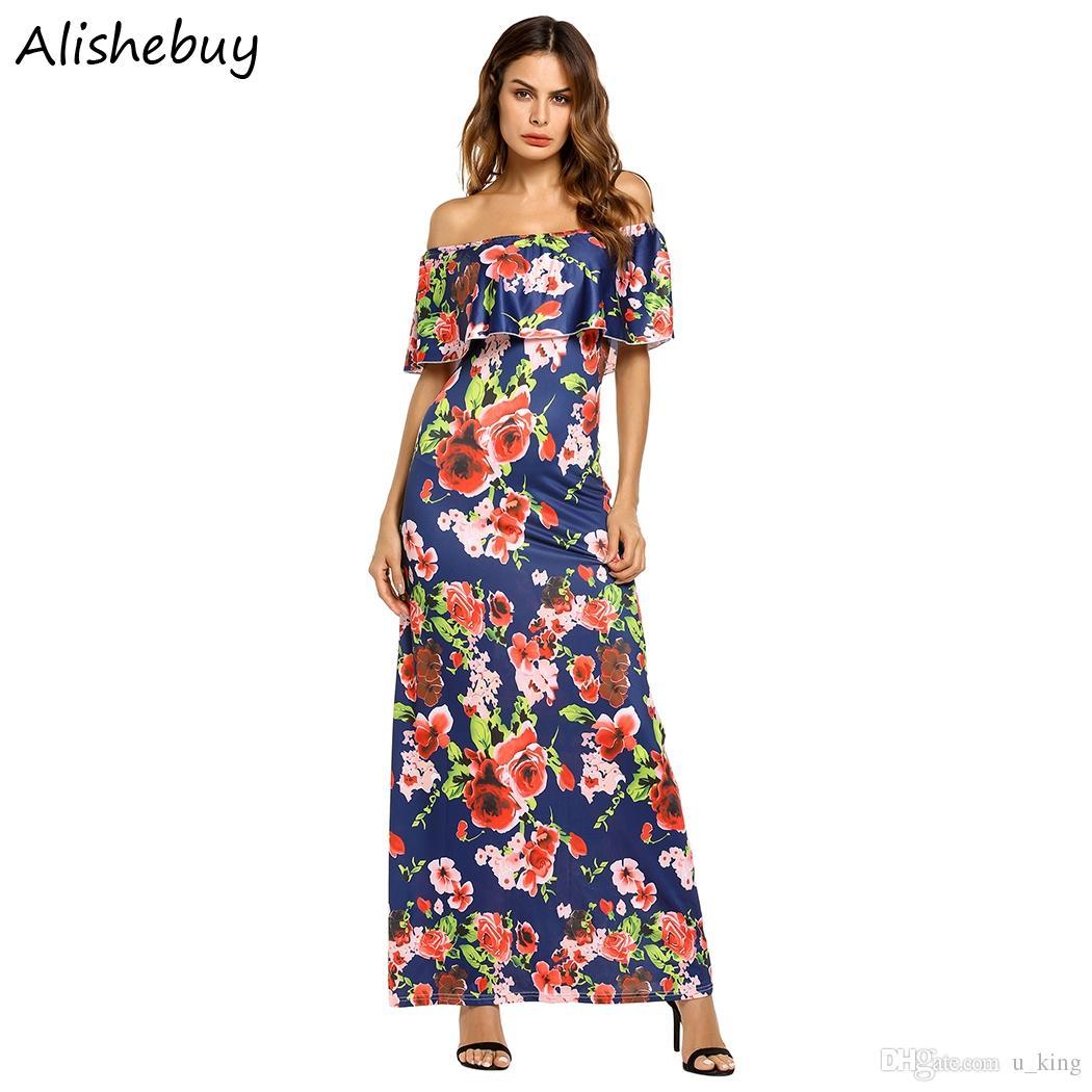 2c40948b4e434 2019 Women Casual Ruffles Off Shoulder Dresses Sleeveless Slim Fit Elegant  Party Dress Floral Printed Slim Maxi Long Dress Plus Size SVH034107 From  U king