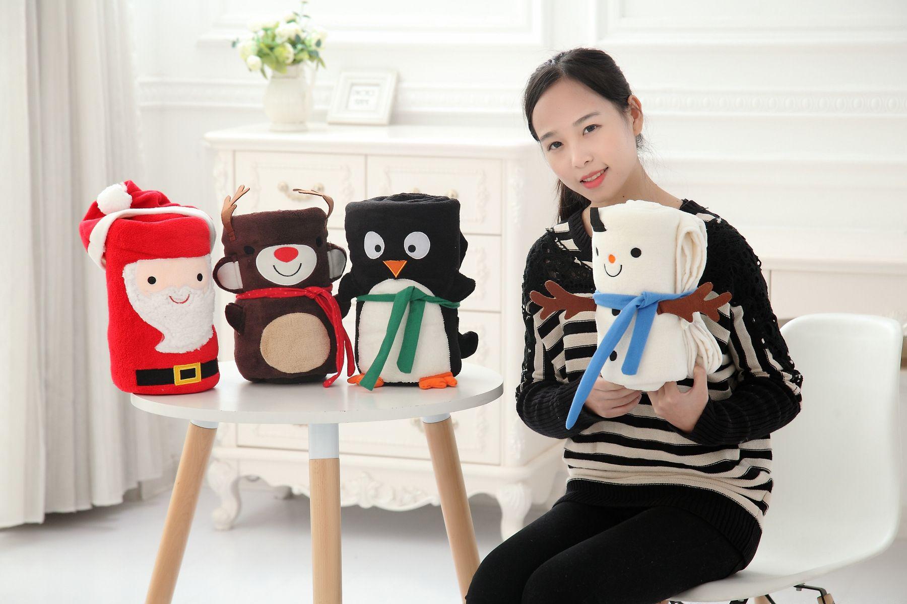 .100*80CM Xmas/Christmas Infant kids Winter Blankets Baby Children Velvet Warmth Cartoon Quilts Childs Kids Cute Warm Blacket WD071