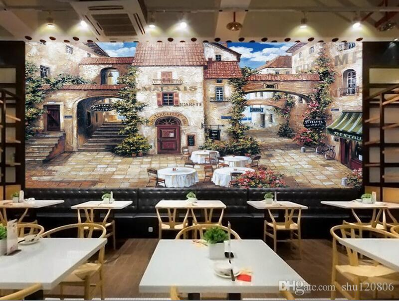 3d room wallpaper custom photo mural european cafe town for Cafe mural wallpaper