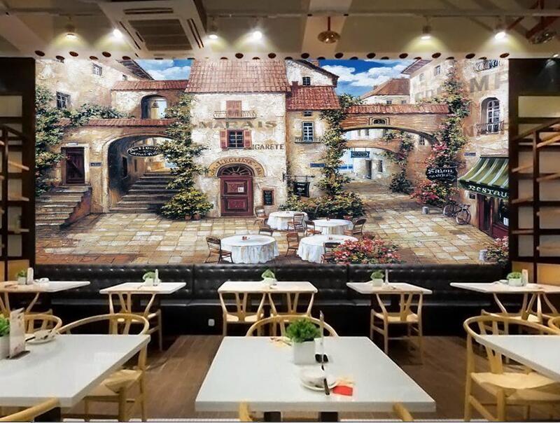 D room wallpaper custom photo mural european cafe town