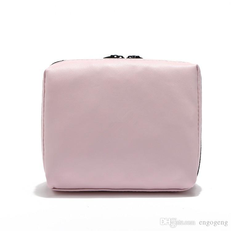 wholesale price for pink makeup bag PU with logo come with gift box