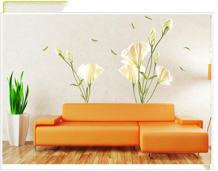 Großhandel Neue Weiße Lilien Blumen Wand Aufkleber Wasser Lilien ...