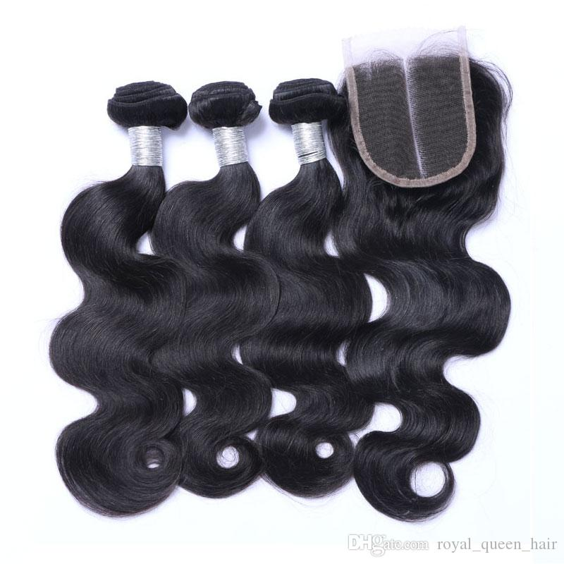 8A 브라질 버진 인간의 머리카락은 레이스 클로저로 3 묶음 말레이시아 인디언 캄보디아 페루 바디 웨이브 헤어 앤 클로저 4x4 크기