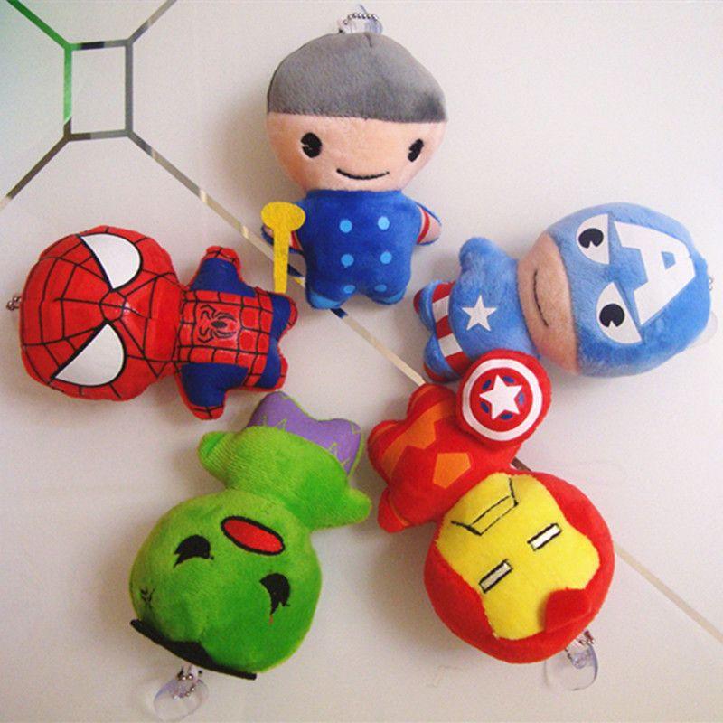 5 Stilleri Avengers peluş bebekler oyuncaklar Anahtarlık Kaptan Amerika Demir Adam Spiderman peluş bebekler Charm Kolye peluş oyuncaklar