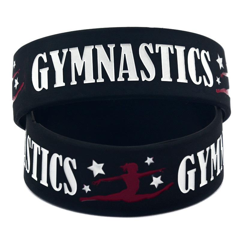 Ginástica pulseira de borracha de silicone com um presente de esportes de polegada de esportes macio e flexível tamanho adulto preto