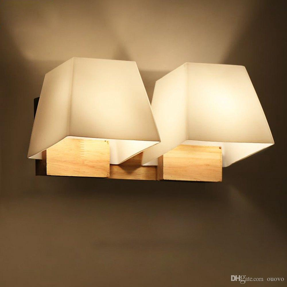 Modern Wooden Glass Trapezoid Cube Bedroom Bedsides Wall Lamp ...