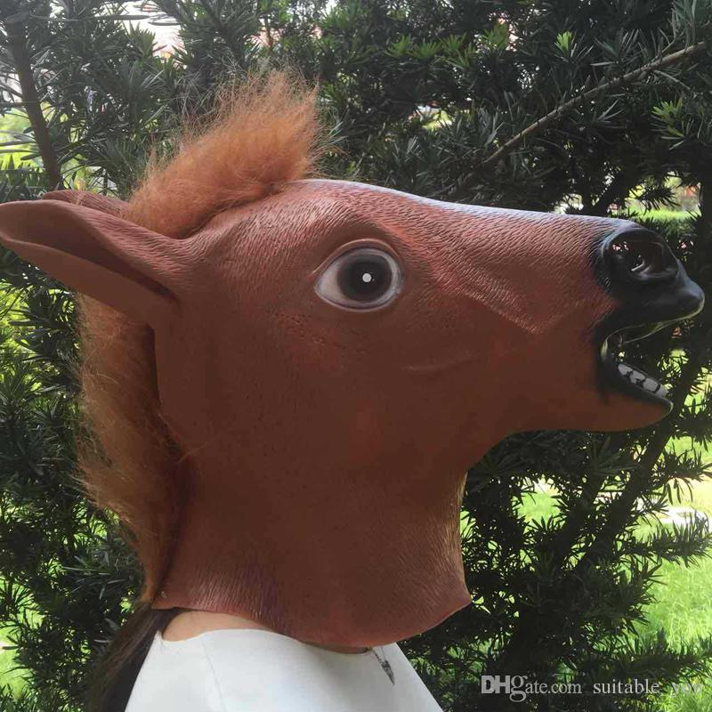 Fashion Gangnam Style Latex Horse Boy Full Head Party Mask For Unisex Halloween Cosplay