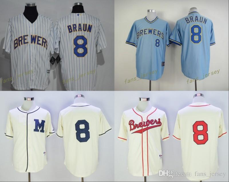 pretty nice 0bd41 7ce8e milwaukee brewers 8 braun white pinstripe jersey