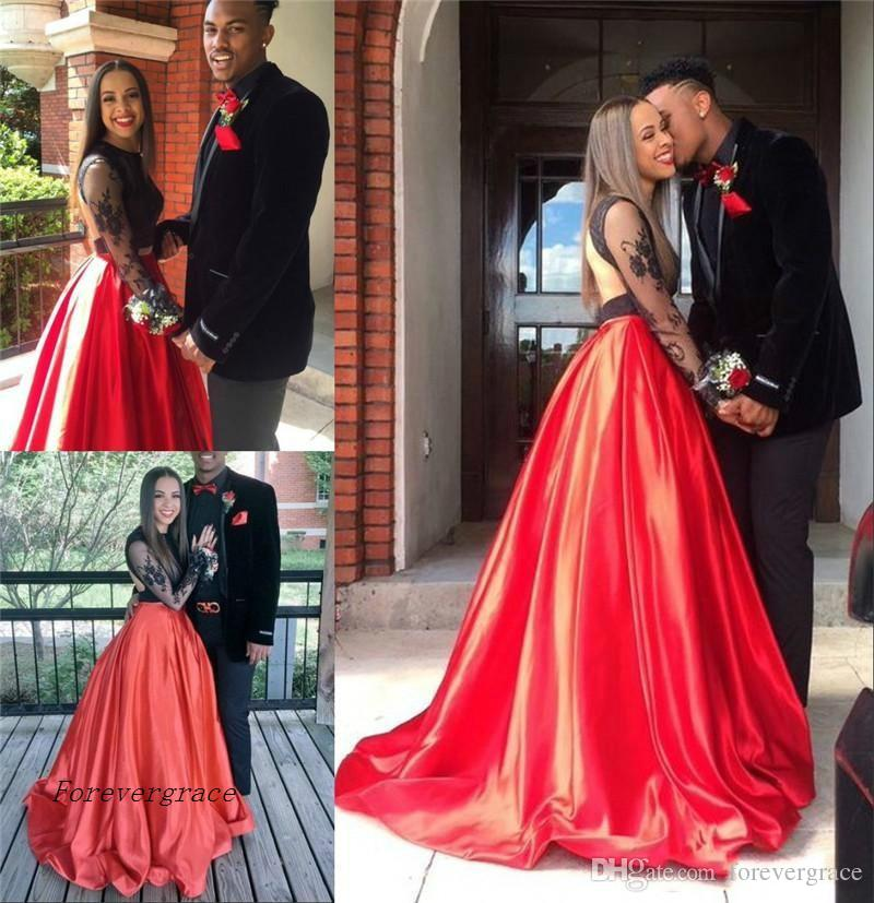 2017 Sexy Couple Fashion Black And Red Prom Dress Cheap Lace Formal