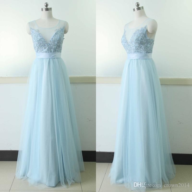 Mavi 2021 Seksi Abiye giyim Artı Boyutu Sheer Boyun Aplike A-Line Uzun Tül Balo Abiye Backless Örgün Akşam