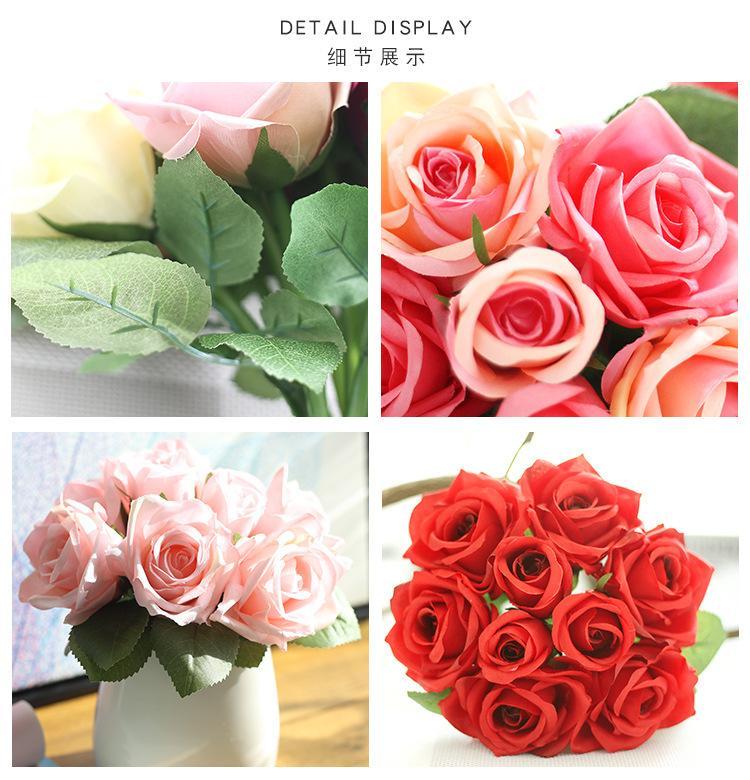 Ramo de novia Flores de la boda Falsa seda rosa cumpleaños artificial Fiesta de compromiso Decoración del hogar Novia Dama de honor ramo de flores