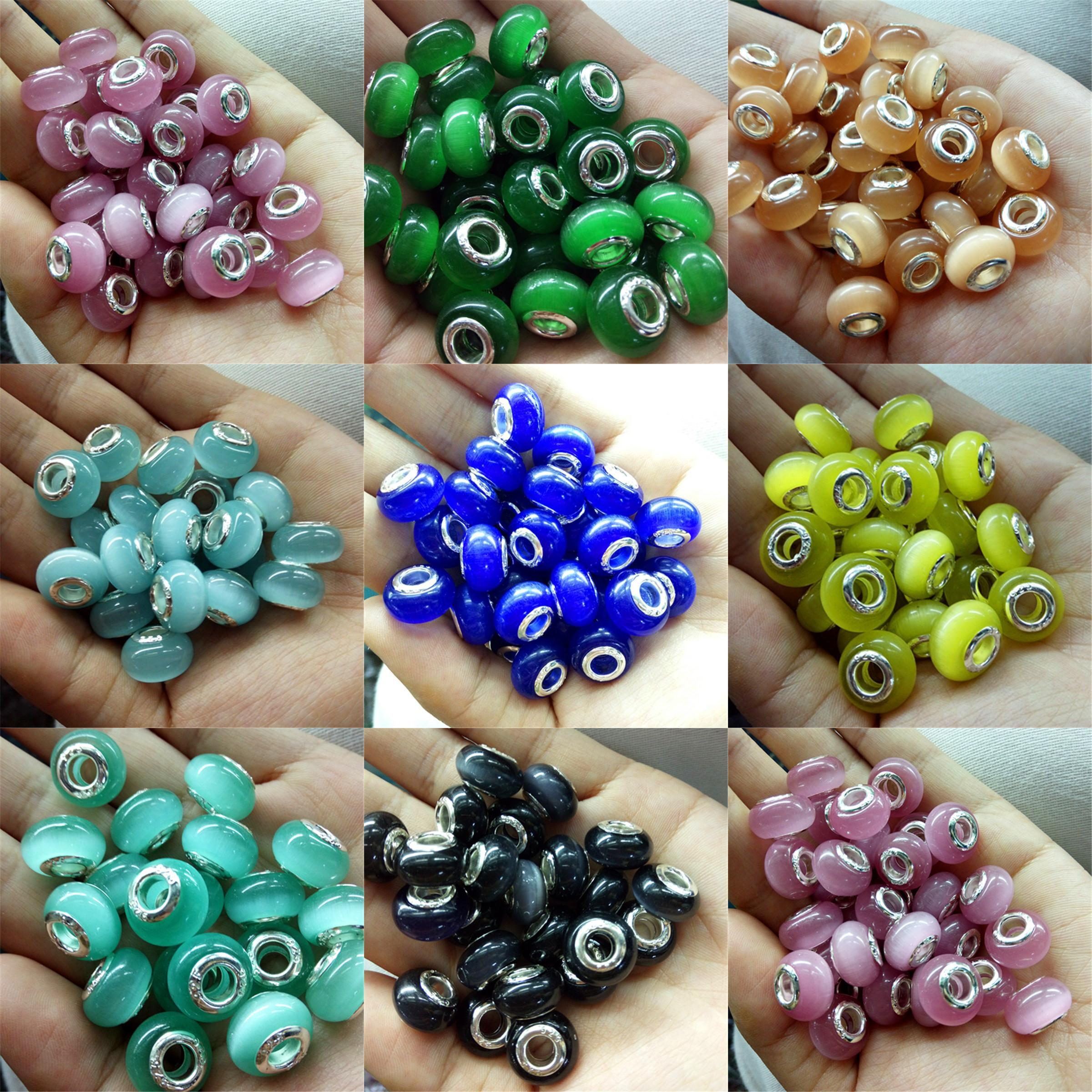 2019 Jewelry Opal Stone Round Beads High Polished 925 Silver Core Plated  Loose Beads 5mm Big Hole Fit Charms European Bracelet From Chenbao jewelry be137a39f231