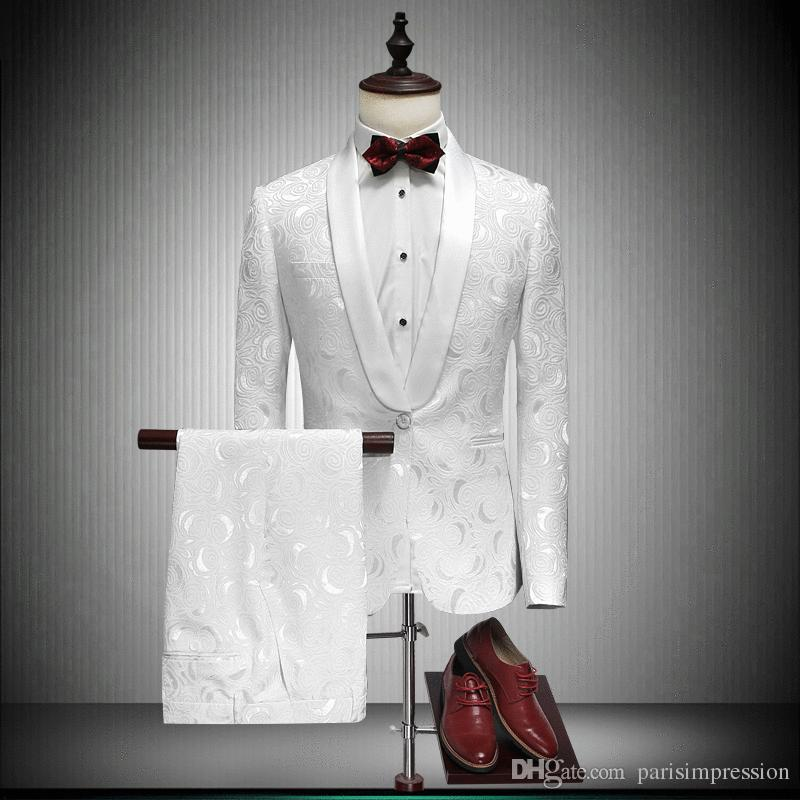 2018 Shawl Lapel Slim Fit Groom Tuxedos Red/White/Black Men Suits ...