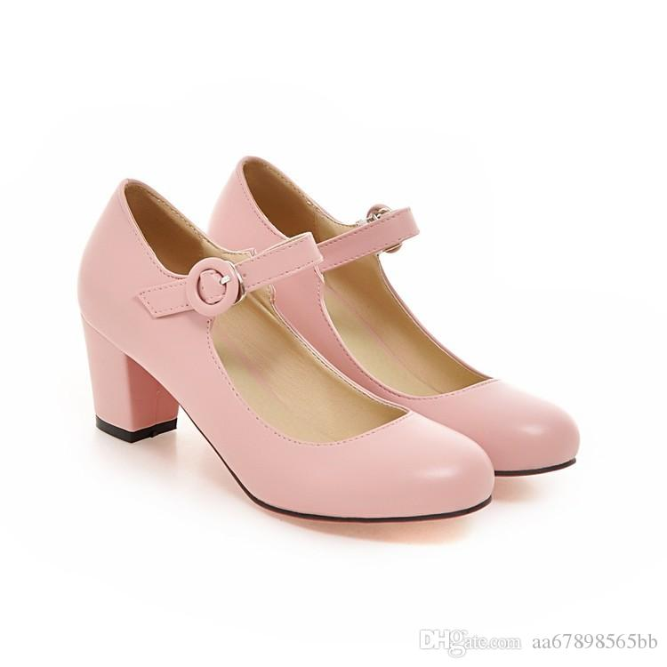eaadd014c2b3 Candy Color Womens Mary Janes Pumps Low Heel Lolita Round Buckle Shoes Mens  Casual Shoes Penny Loafers From Aa67898565bb